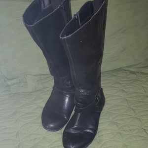 Tall wide black boots